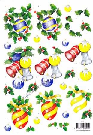 Christmas Baubles & Holly Designs 3d Decoupage Sheet